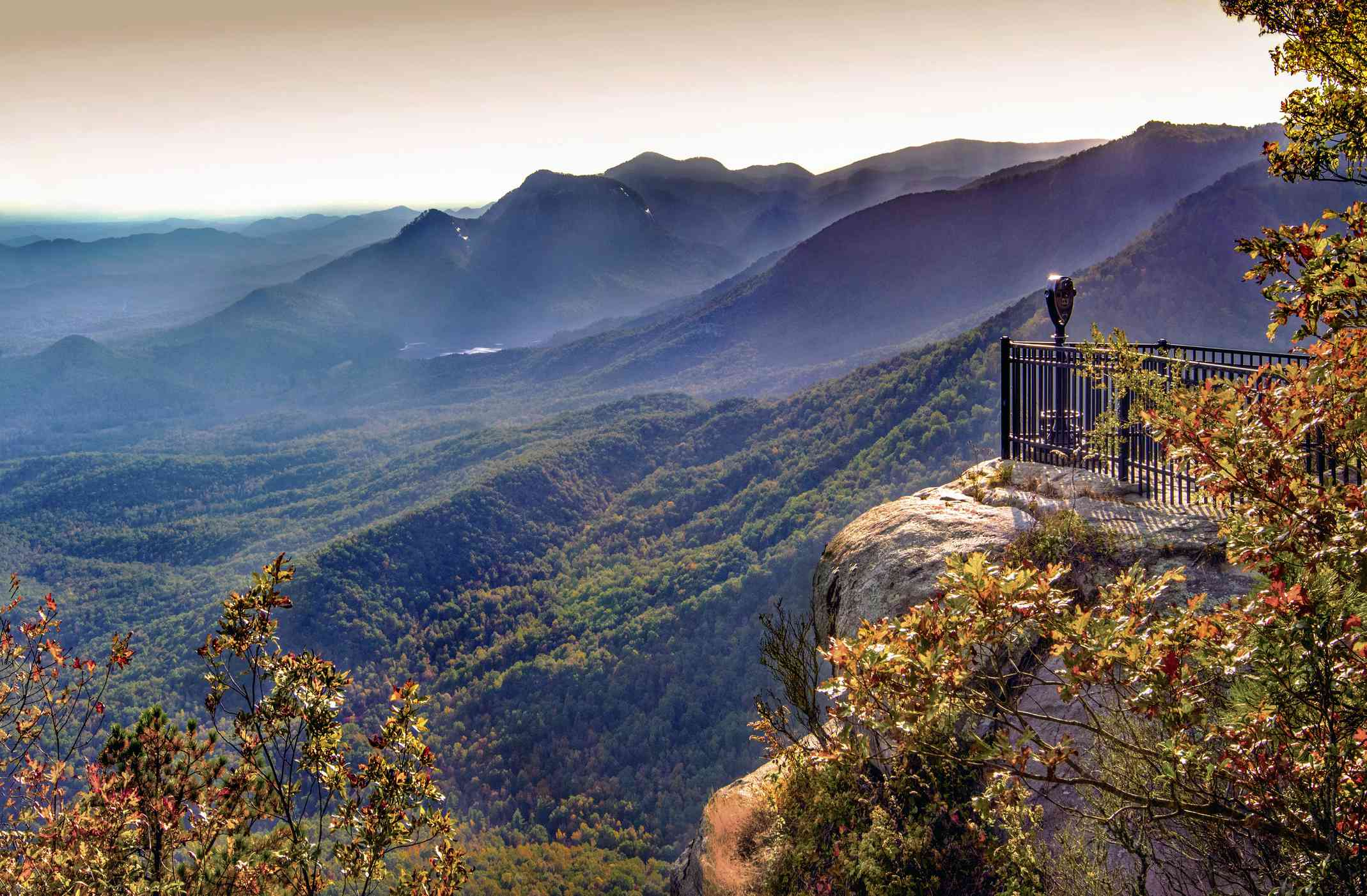 Sunset on Table Rock Mountain viewed from Caesars Head State Park in South Carolina