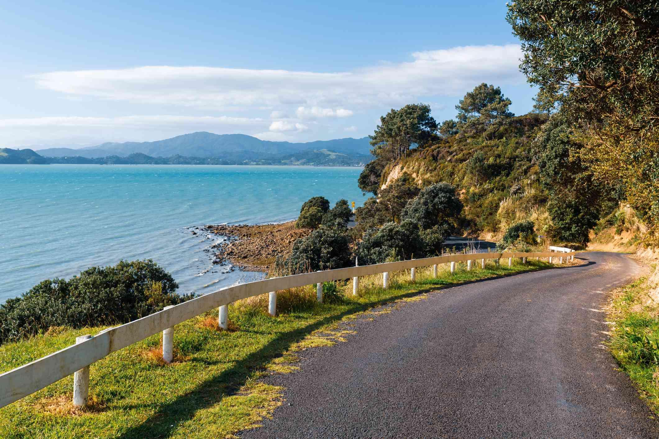 narrow coastal road with trees and blue sea beyond
