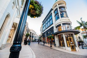 Looking up at the luxury stores on Rodeo Drive