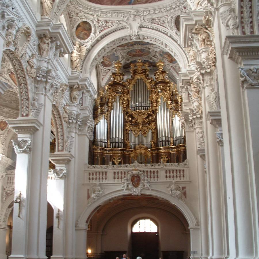 The balcony and pipe organ at St. Stephen's Cathedral in Passau, Germany