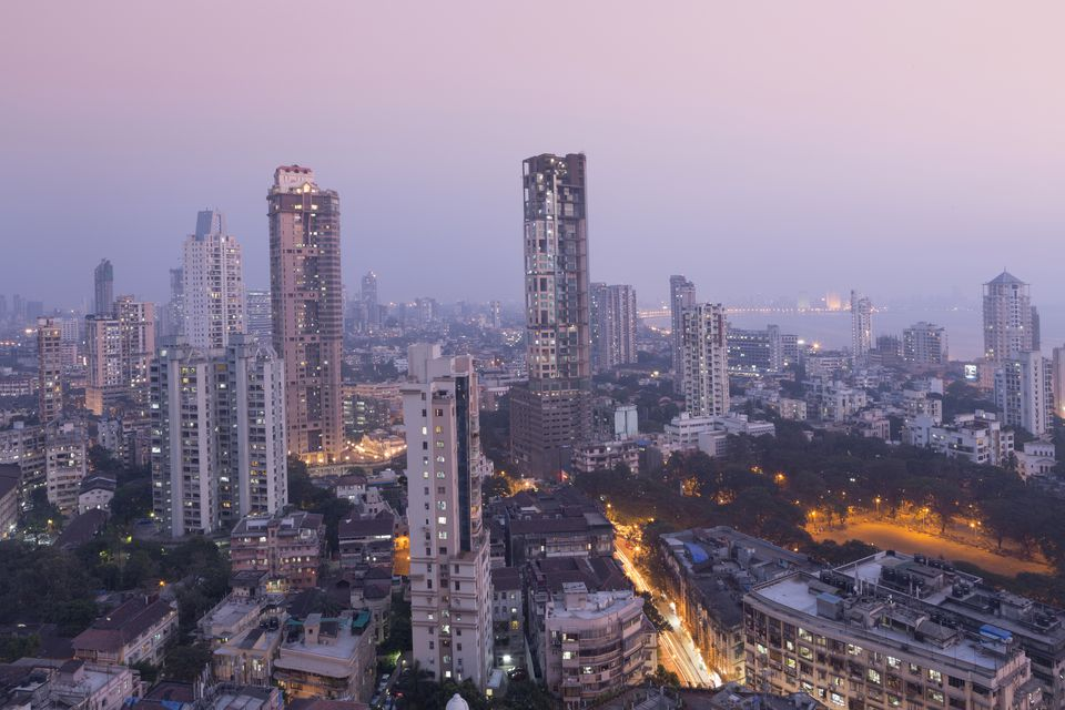 Mumbai skyline from Malabar Hill, Mumbai, Maharashtra, India, Asia