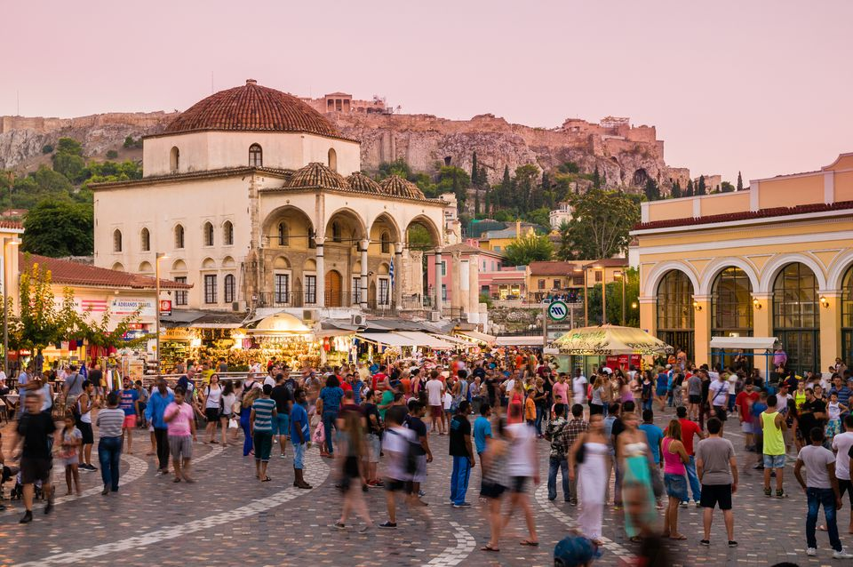 Monastiraki, popular market square in Athens