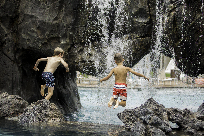 Children playing in the adventure pool at Wailea Beach Resort – Marriott, Maui