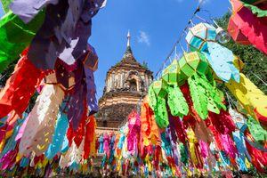 Colorful Lanterns at Wat Lok Moli, Chiang Mai