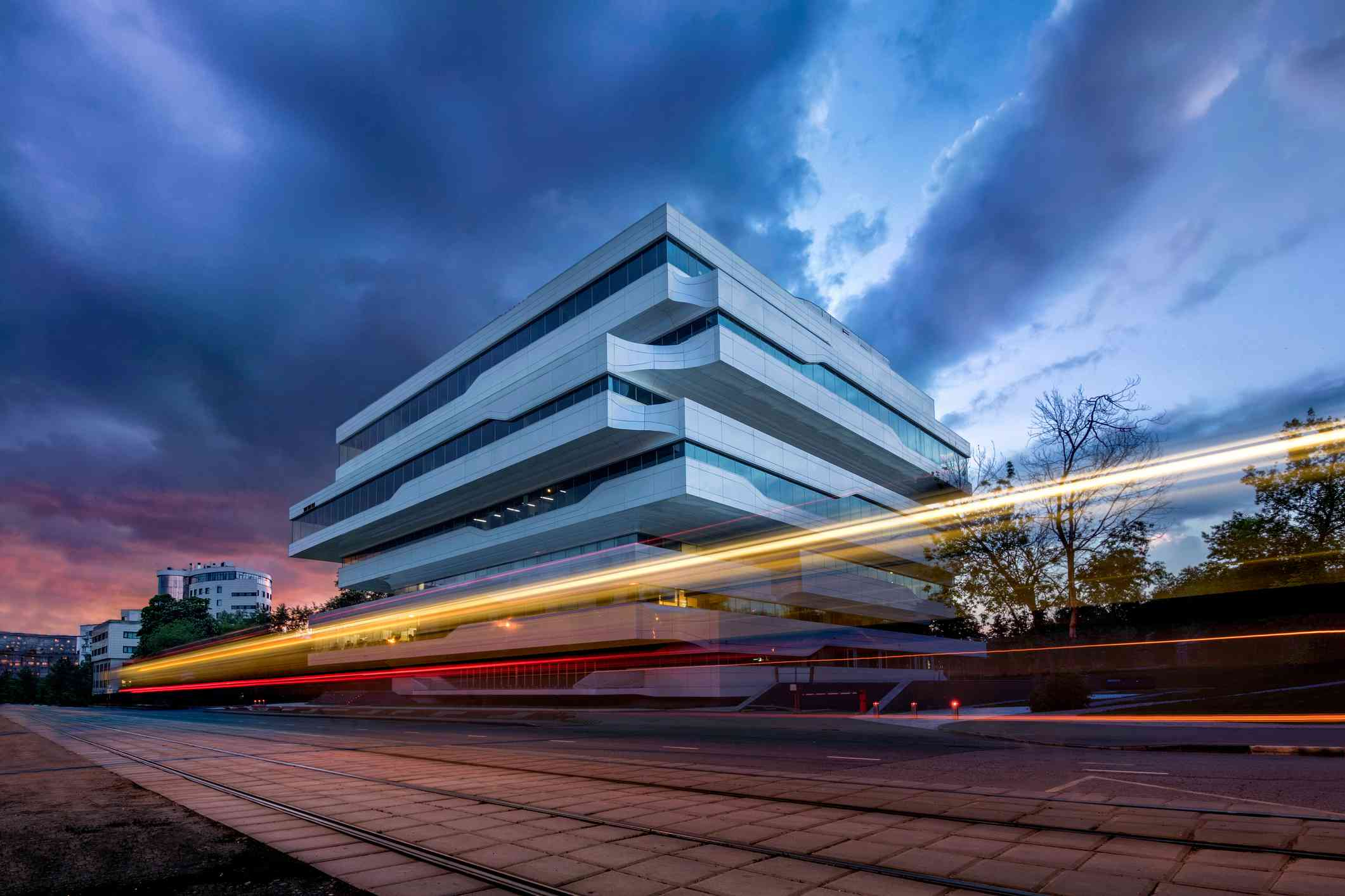 Light trails by Dominion Tower in Moscow