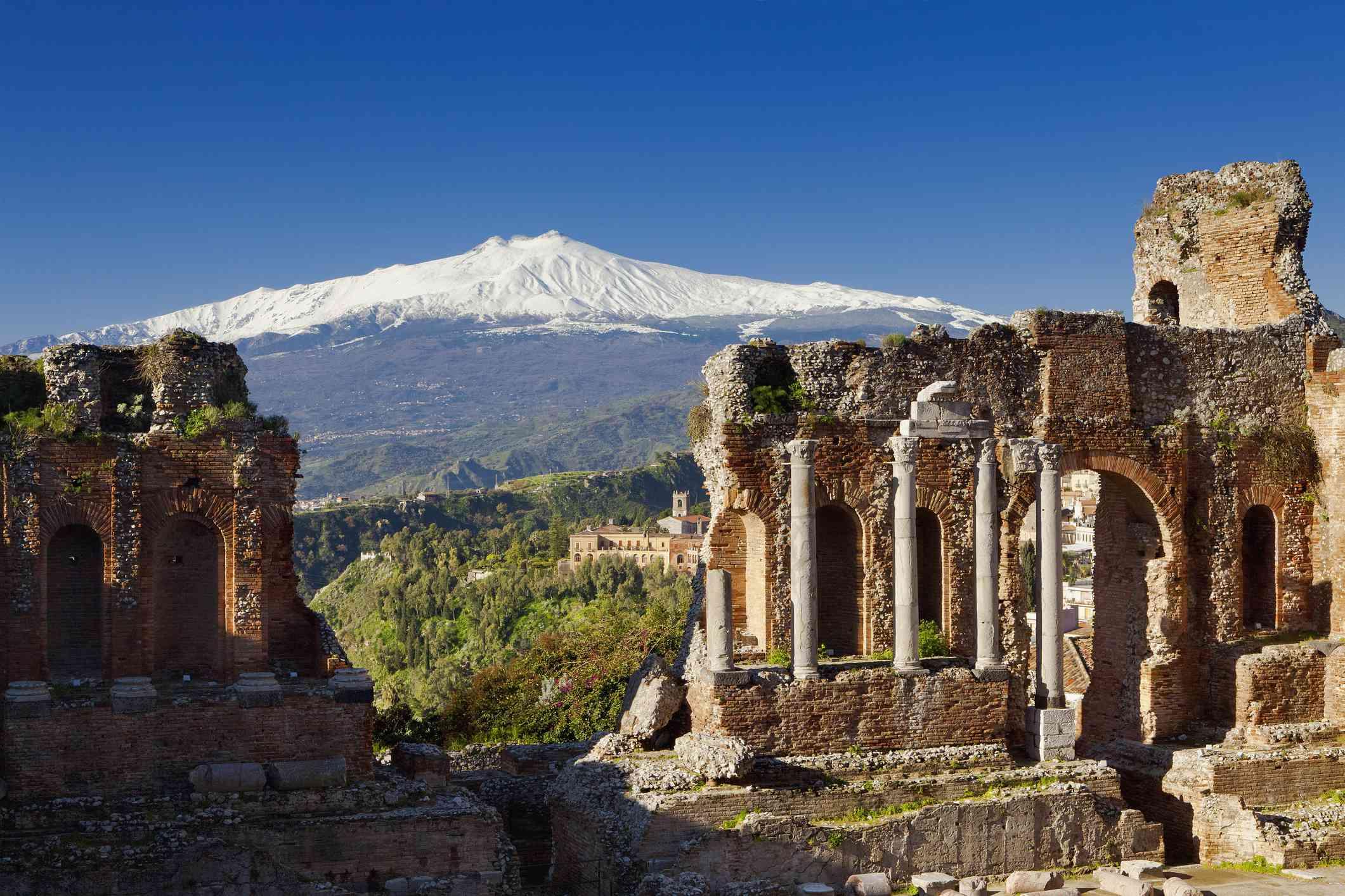 Taormina, Sicily with Mt. Etna