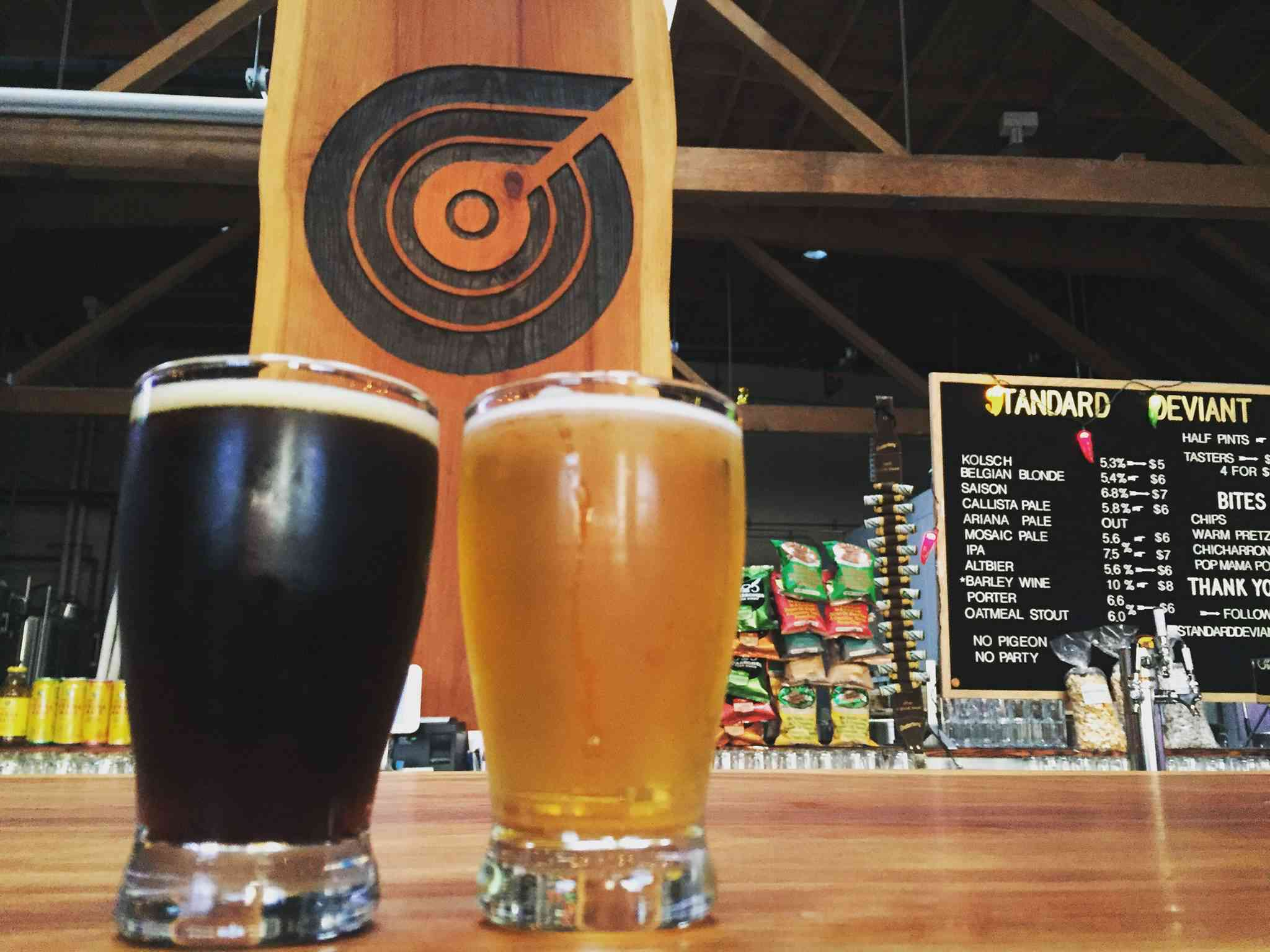 Two beers at Standard Deviant Brewing