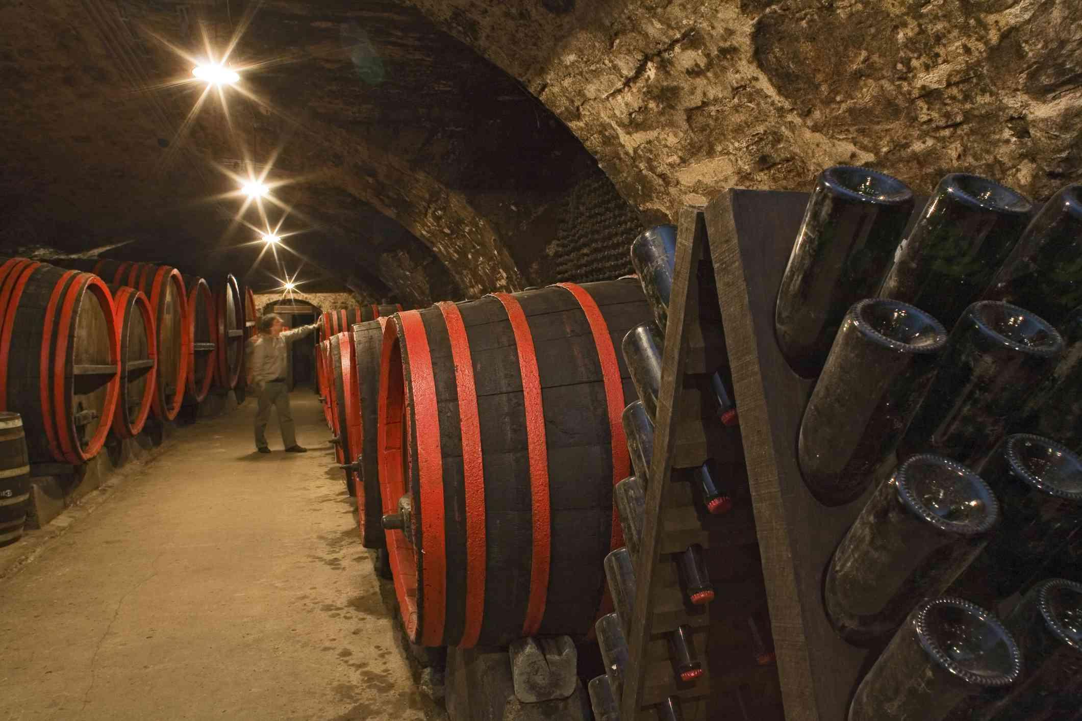 barrels with sparkling wine, champagne, storage, in cellar, Schloss Landestrost, Neustadt am Ruebenberge, Lower Saxony, Germany