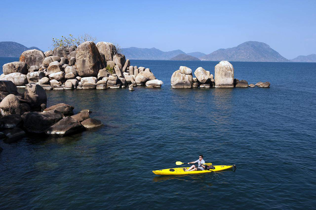 Kayaking at Mumbo Island, Lake Malawi National Park