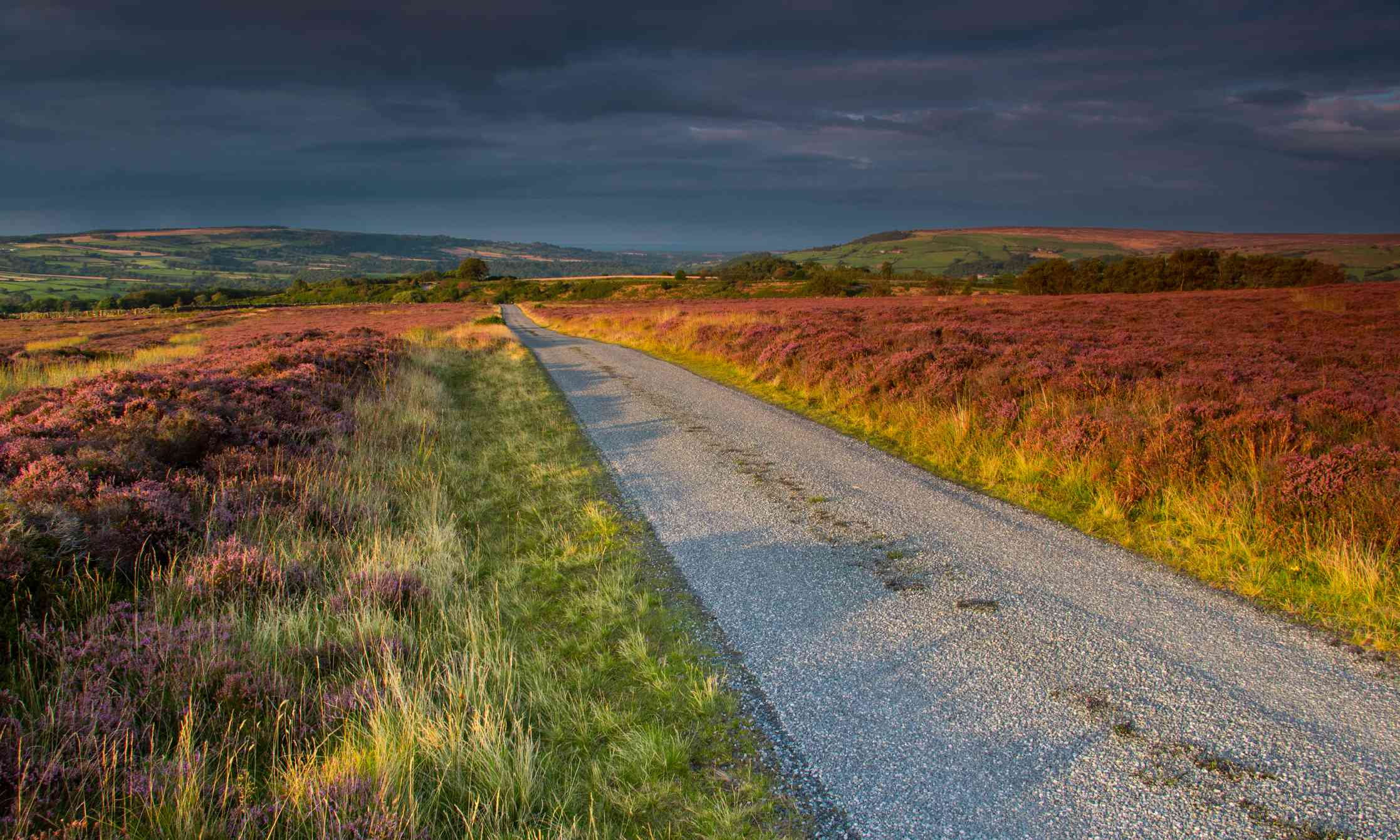 The Yorkshire Moors near Egton in late summer with the road as a lead out