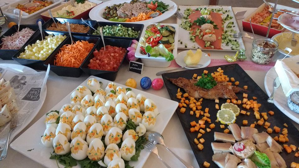 Close-Up Of Easter Brunch Served On Table