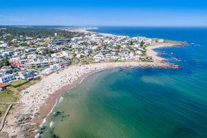Aerial view, high angle view of La Barra Beach, Punta del Este city, Uruguay