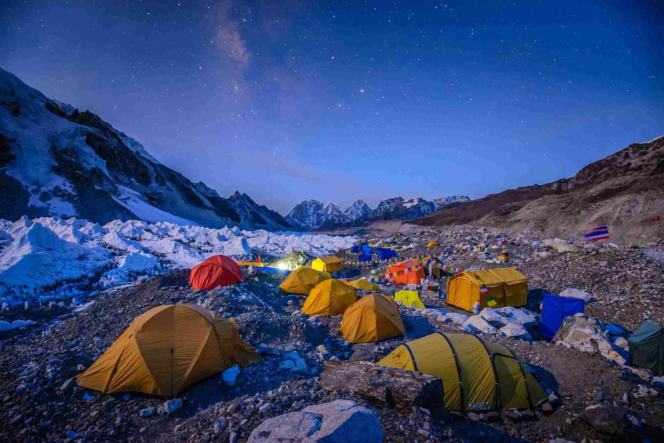 Tents beneath stars at Everest Base Camp, Nepal