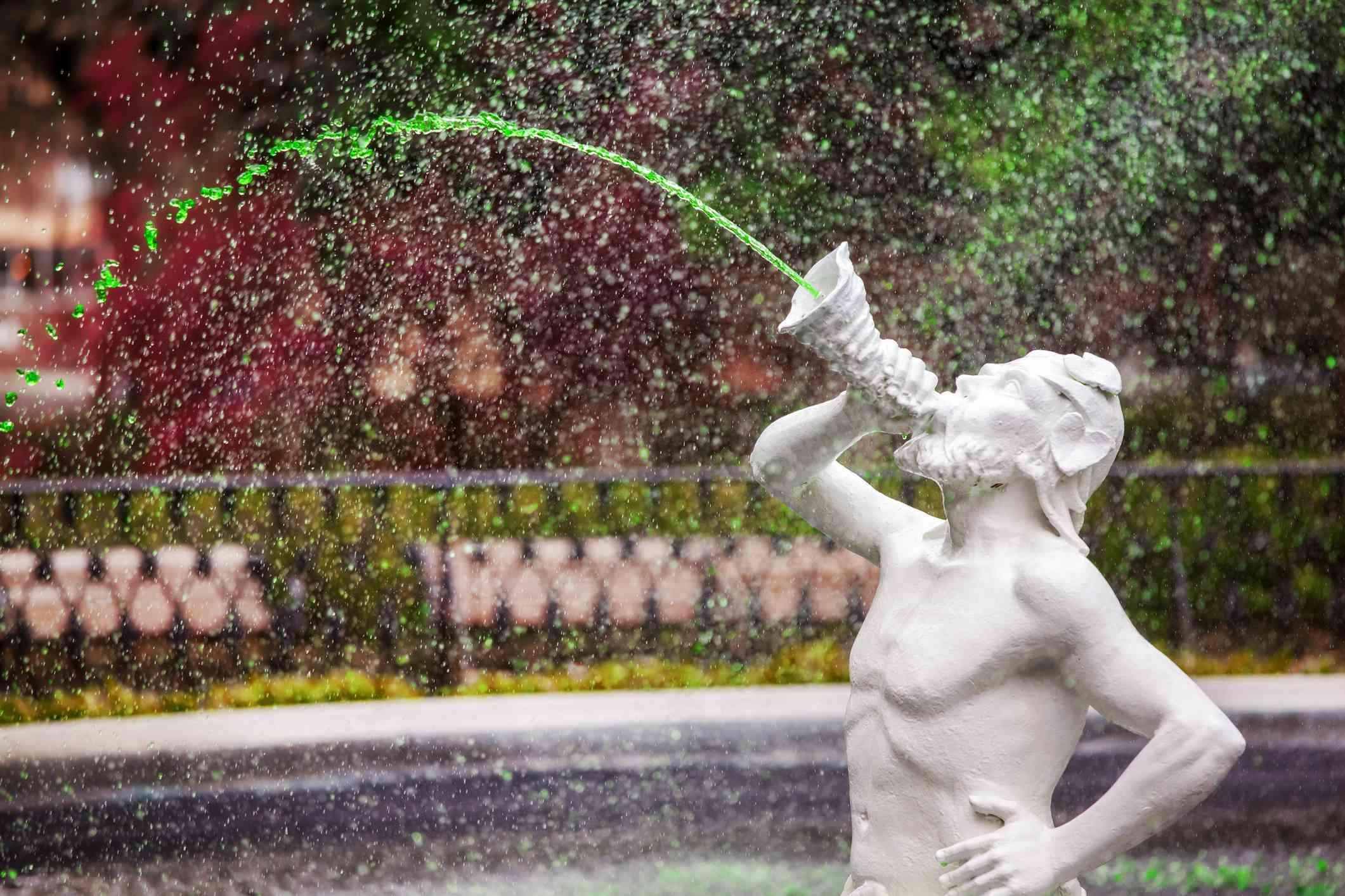 Forsyth Fountain dyed green in Savannah, Georgia, America