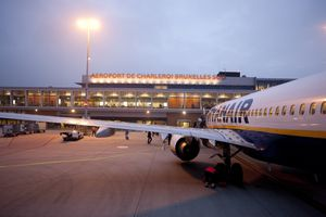 Ryanair plane at a gate at the South Charleroi Airport in Belgium