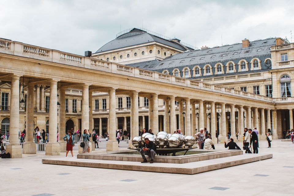 People hanging out in Palais Royal Gardens