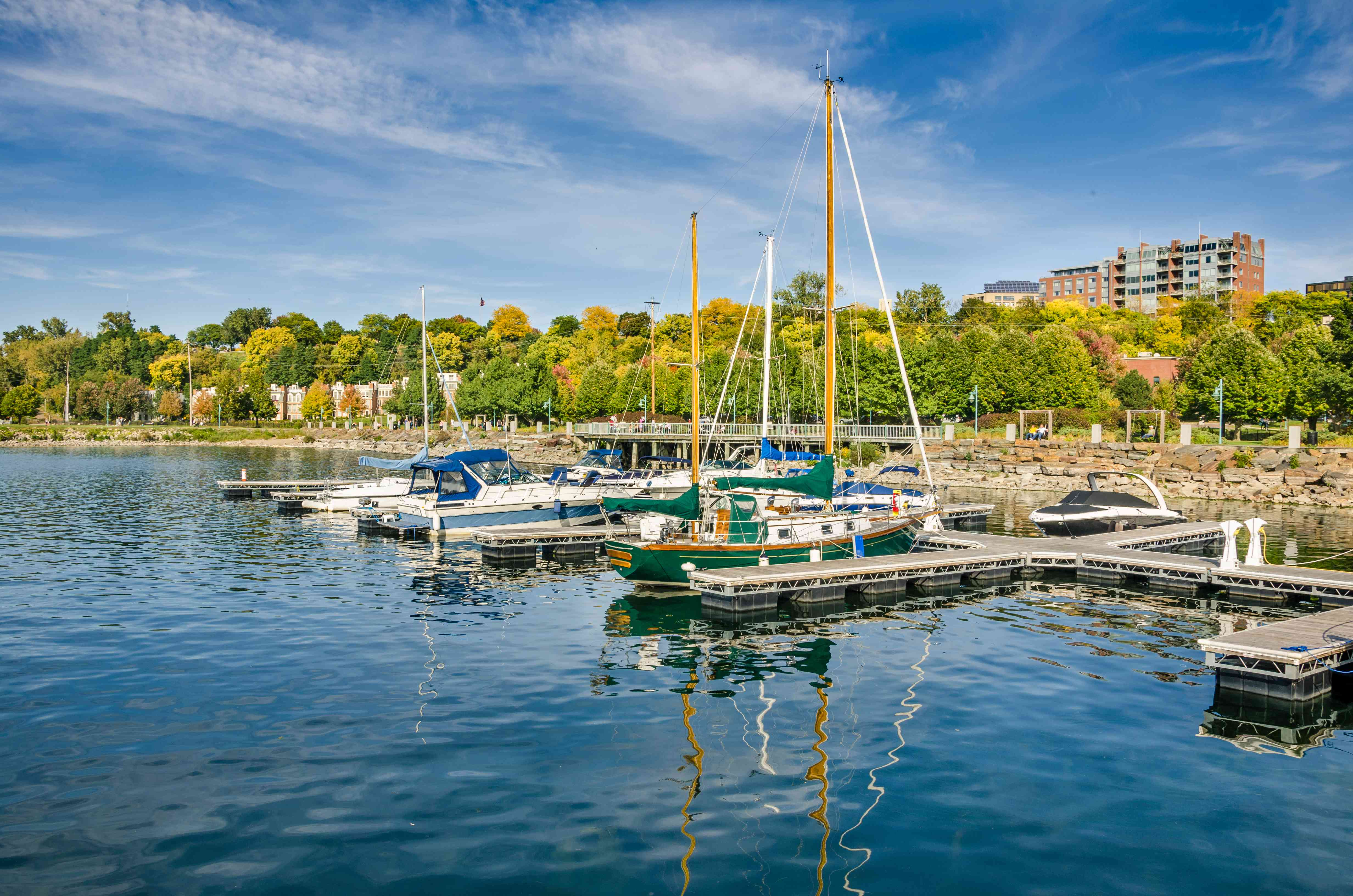 Boats in Harbour and Autumn Colours