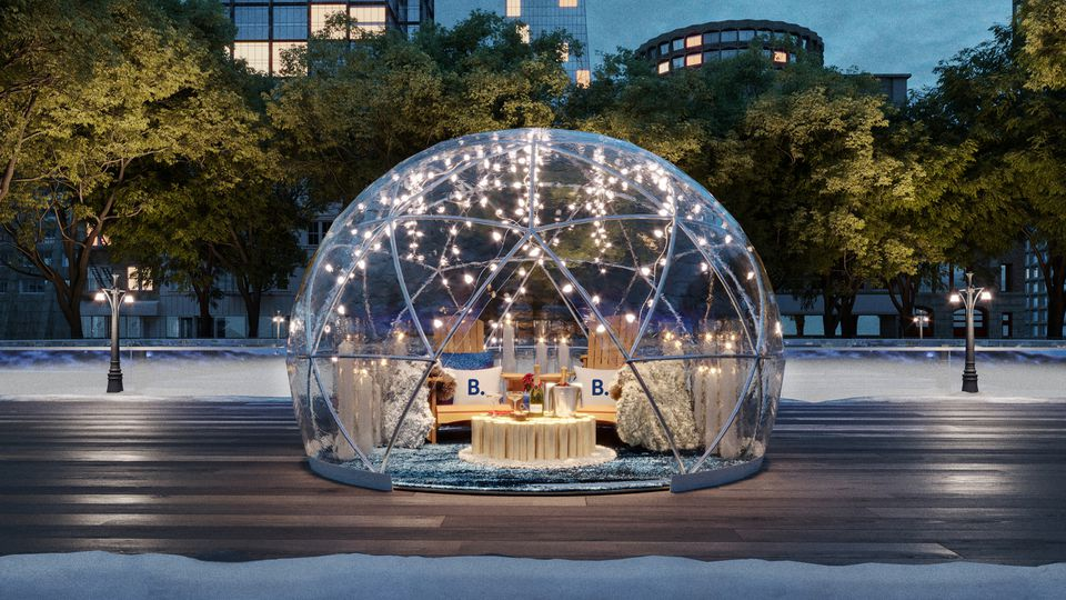 Booking.com Love Letters Bryant Park igloo