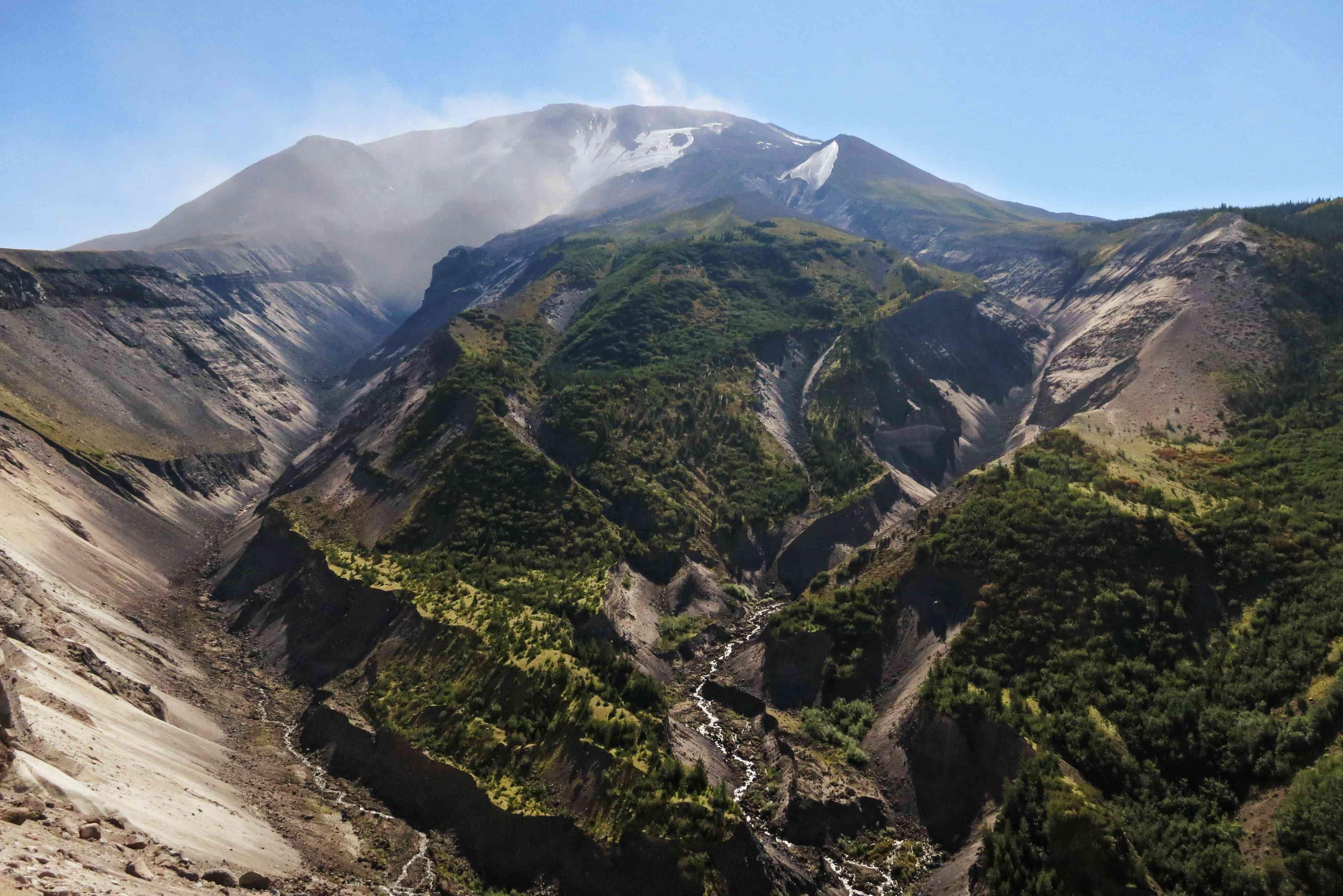 El cráter en Mt St Helen's