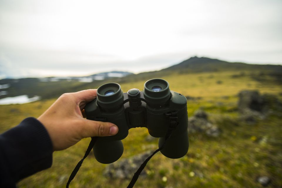 Hand of man holding binoculars outdoors
