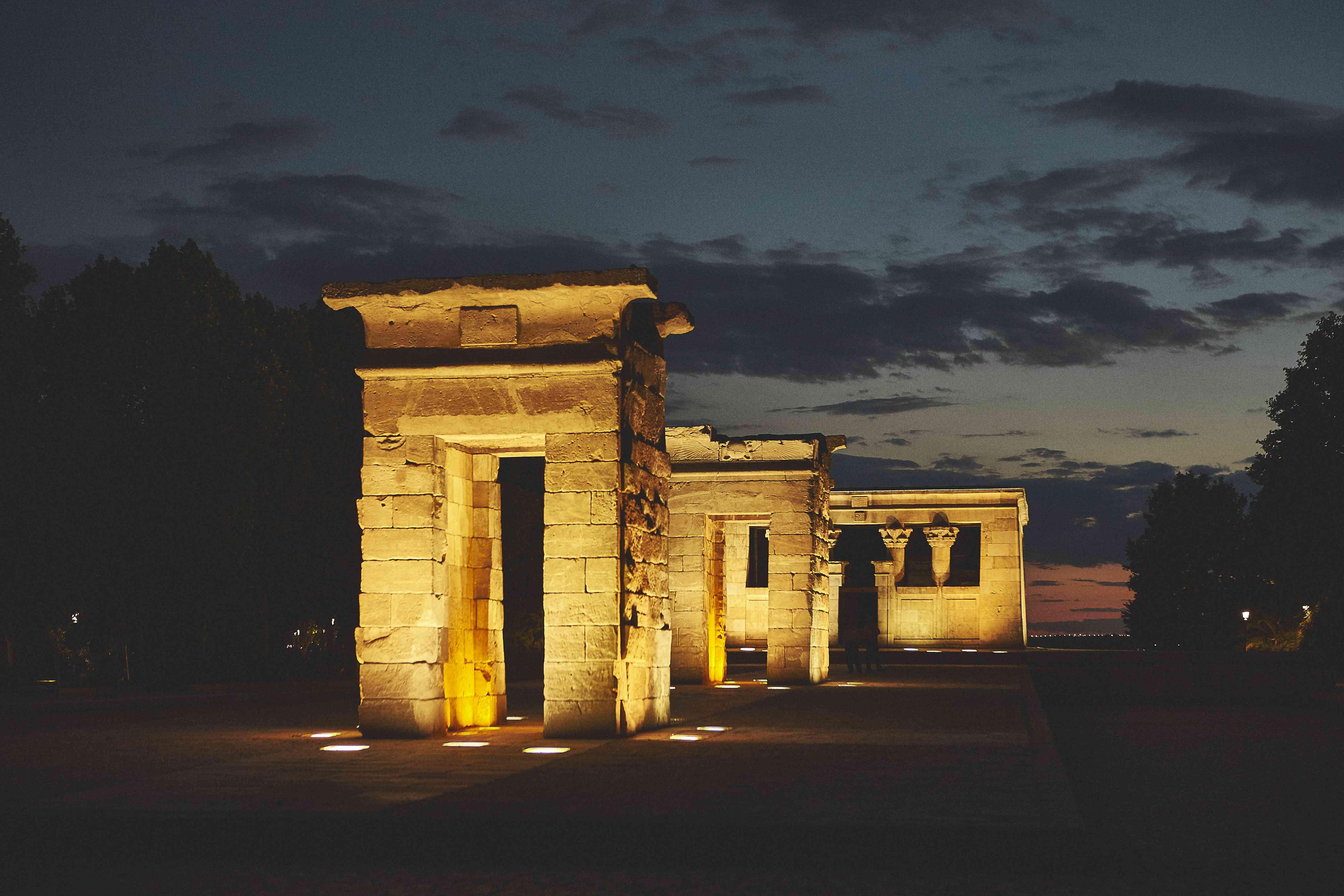 Debod Temple at night