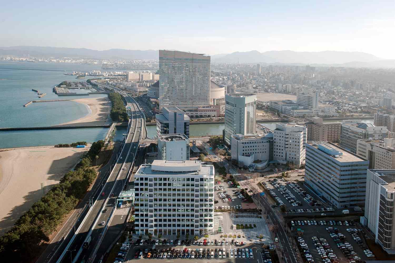 Fukuoka city syline and beach