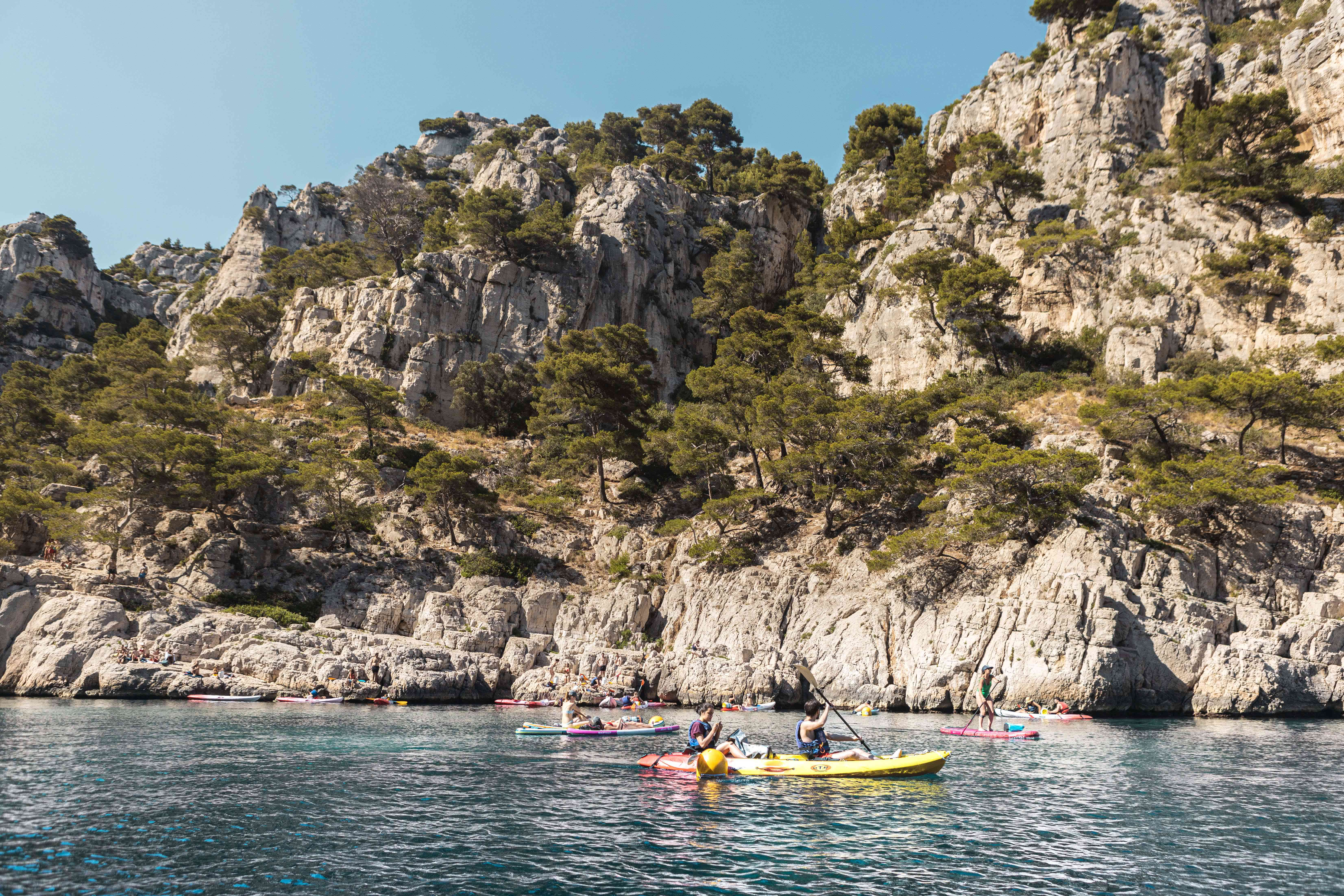 People Kayaking in Calanques National Park