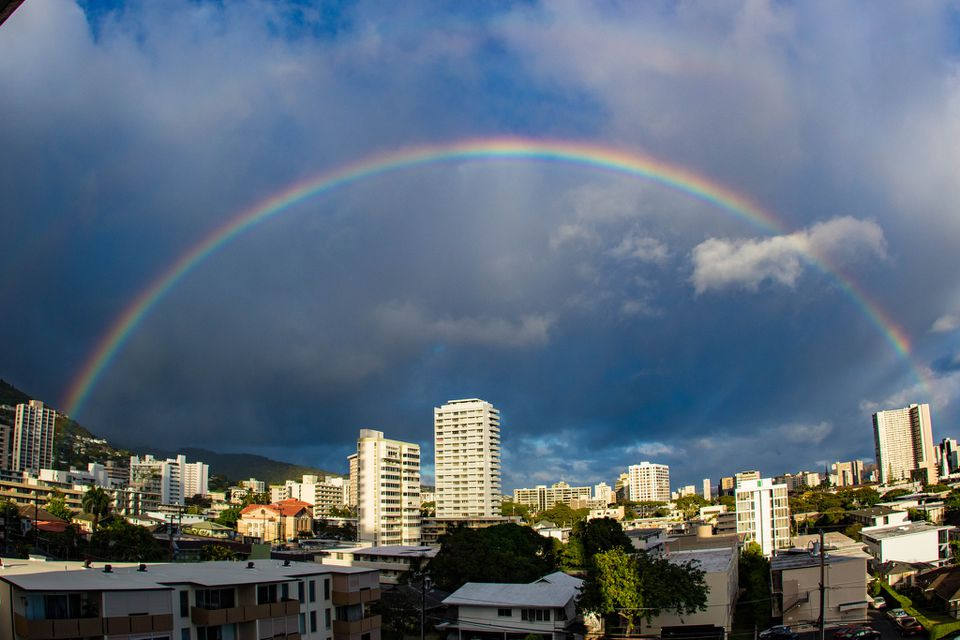 Rainbow over Honolulu, Hawaii