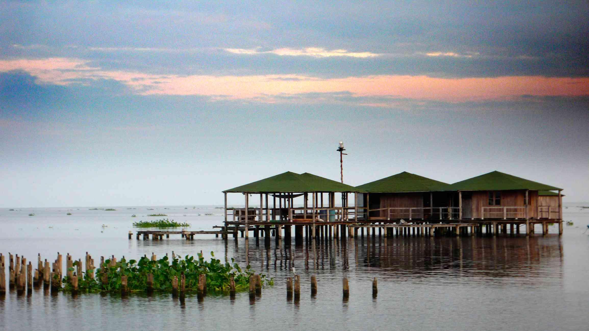 Park rangers huts on Lake Maracaibo.