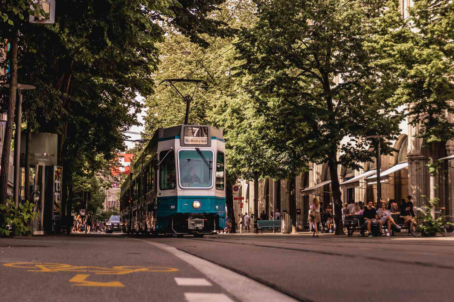 A tram on the streets of Zurich