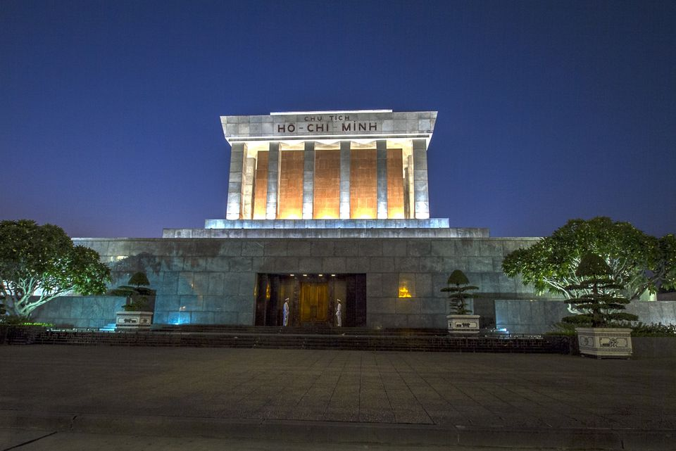Ho Chi Minh Mausoleum at night