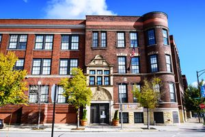 Entrance to Holden Elementary School in Bridgeport, Chicago