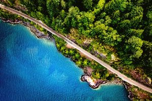 Scenic View Of Forest and road in Vancouver