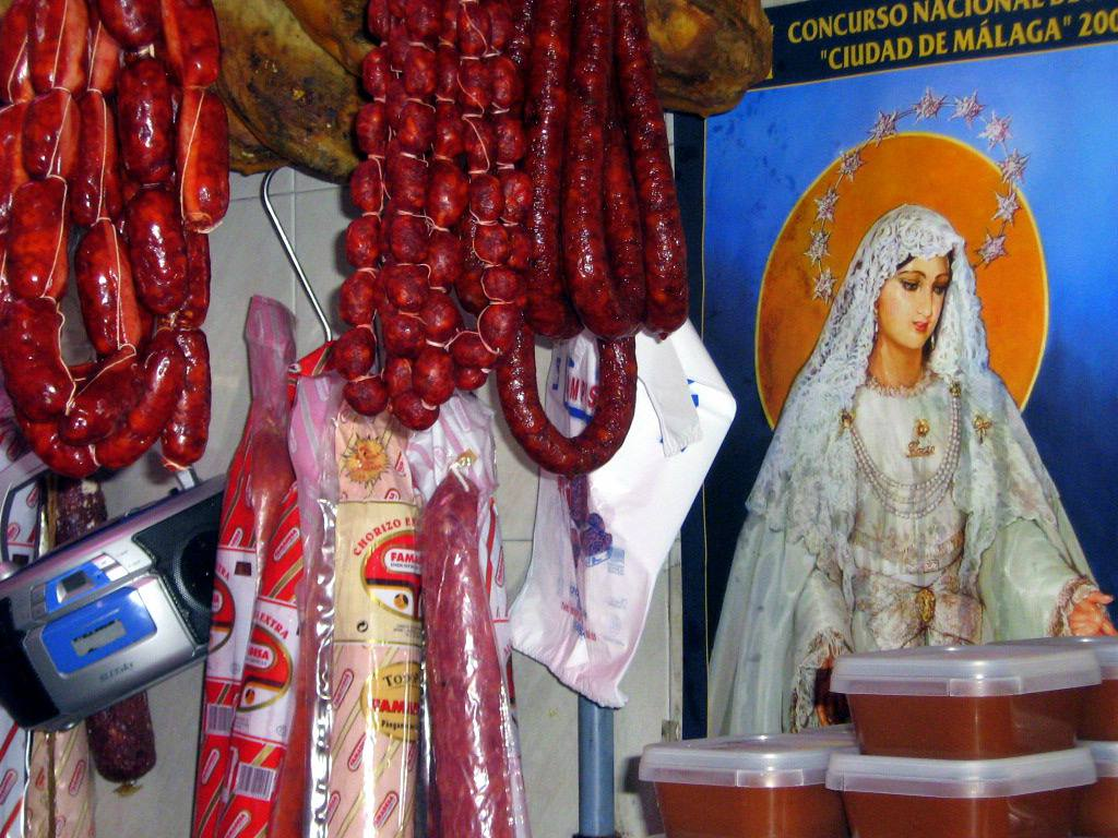 Chorizo and a picture of the Holy Mary