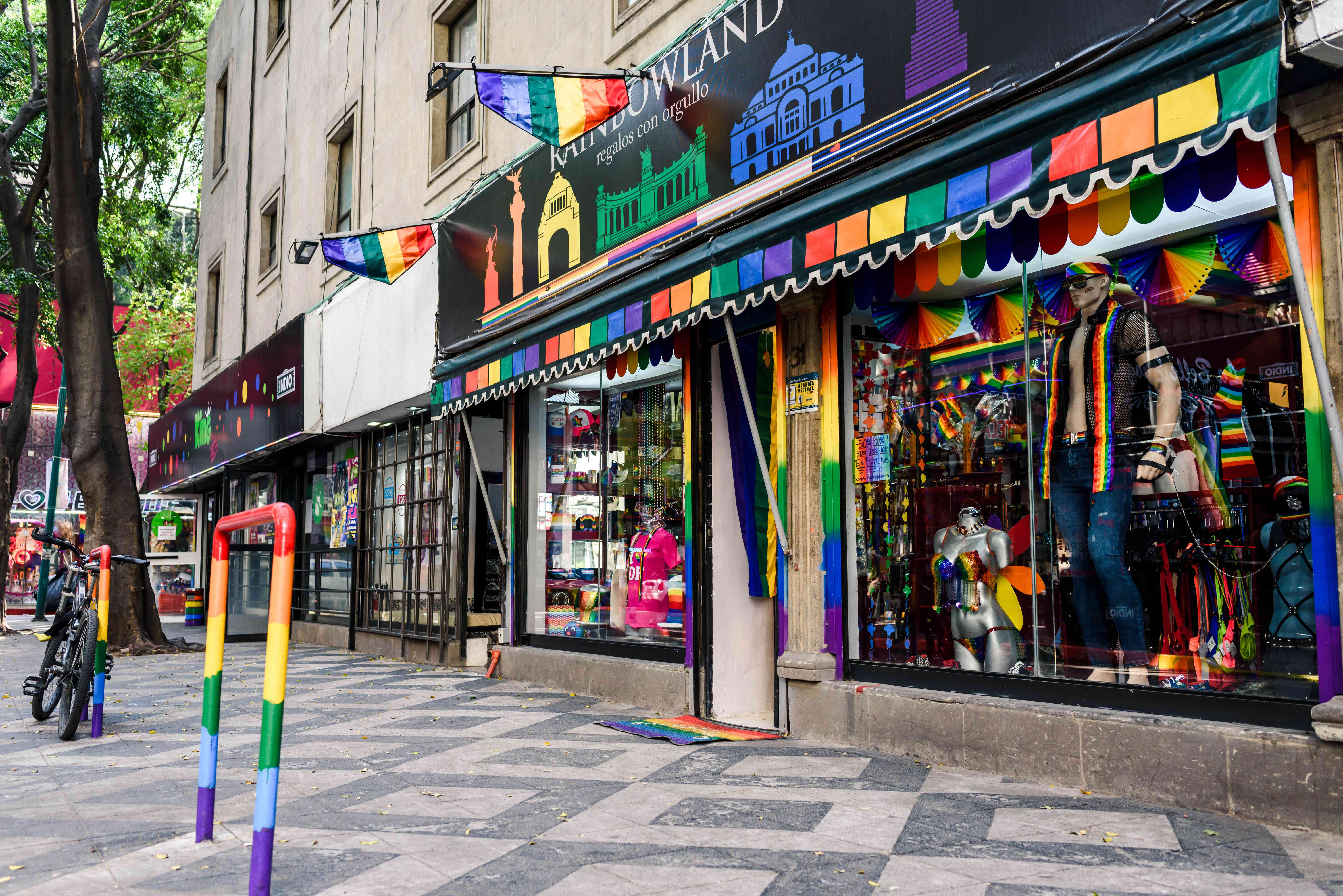 A colorful rainbow storefront in Zona Rosa