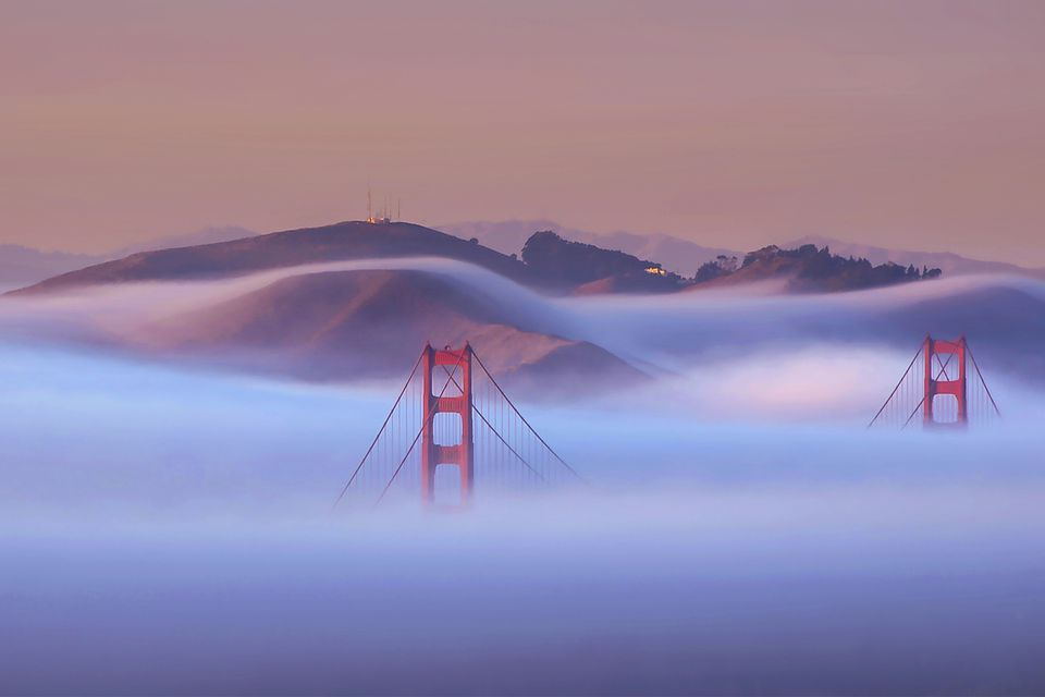 Golden Gate bridge under the june fog