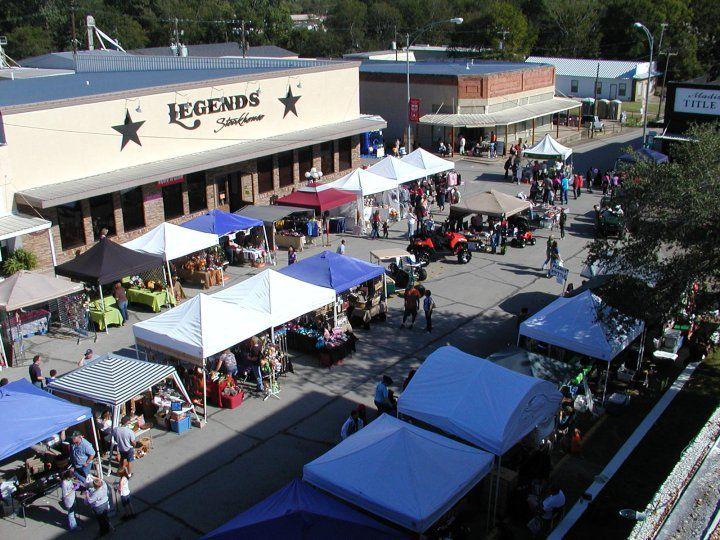 Overhead view of festival vendors