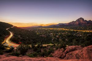 Sedona at dusk, view from Trail View Point