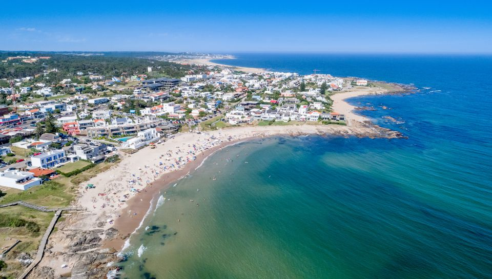 Aerial view, high angle view of La Barra Beach, Punta del Este city, Uruguay
