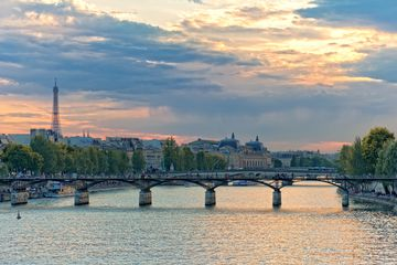 Pont des Arts with the Eiffel Tower in the distance, Paris
