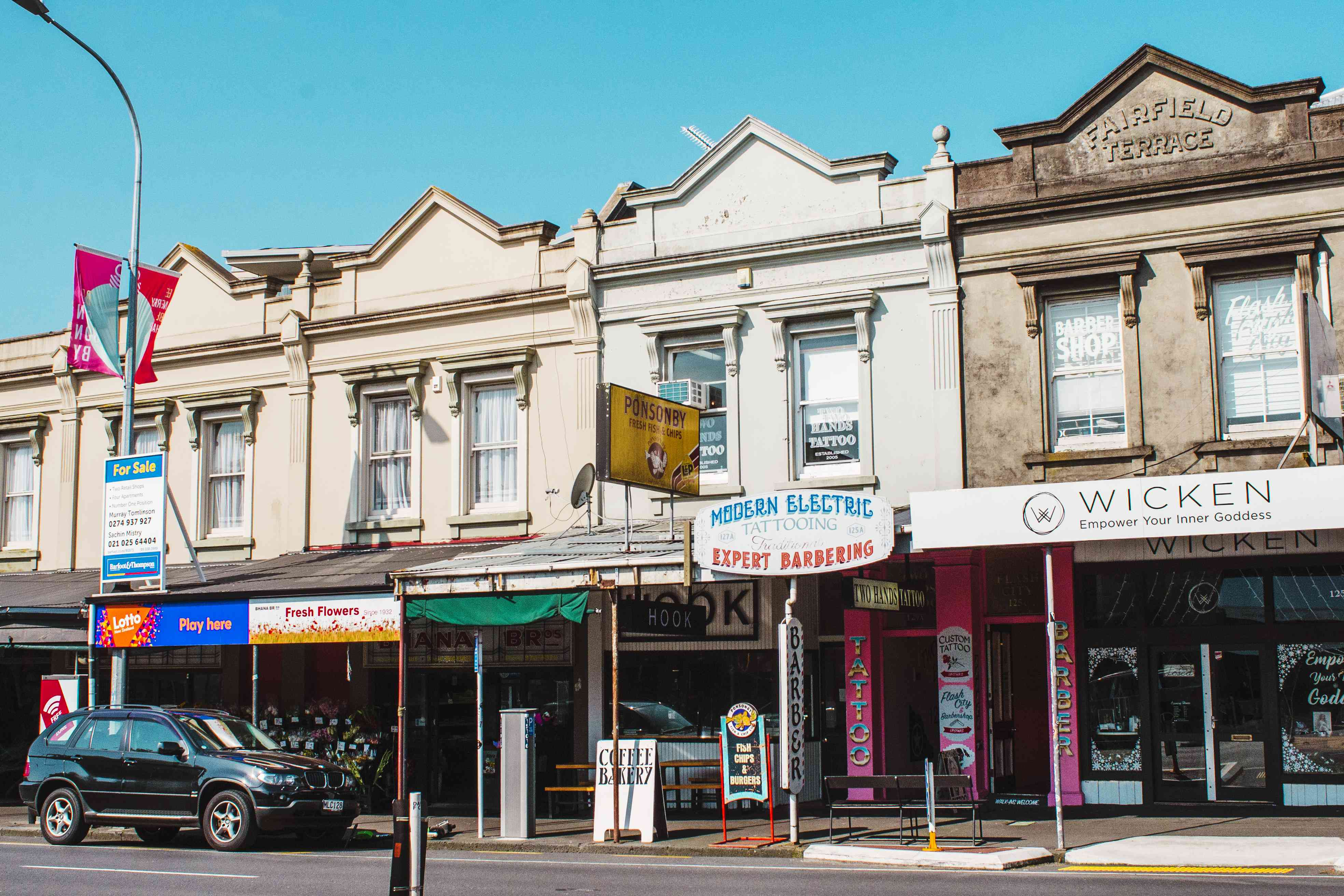 a row of shops on Ponsonby