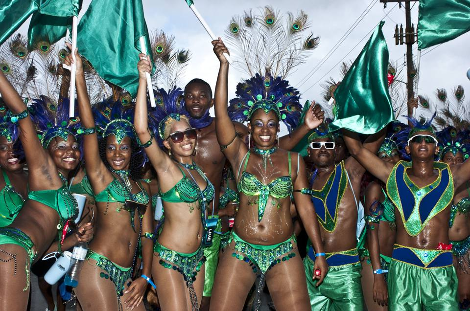 Costumed revelers celebrate Crop Over in Barbados during the Kadooment Day parade.
