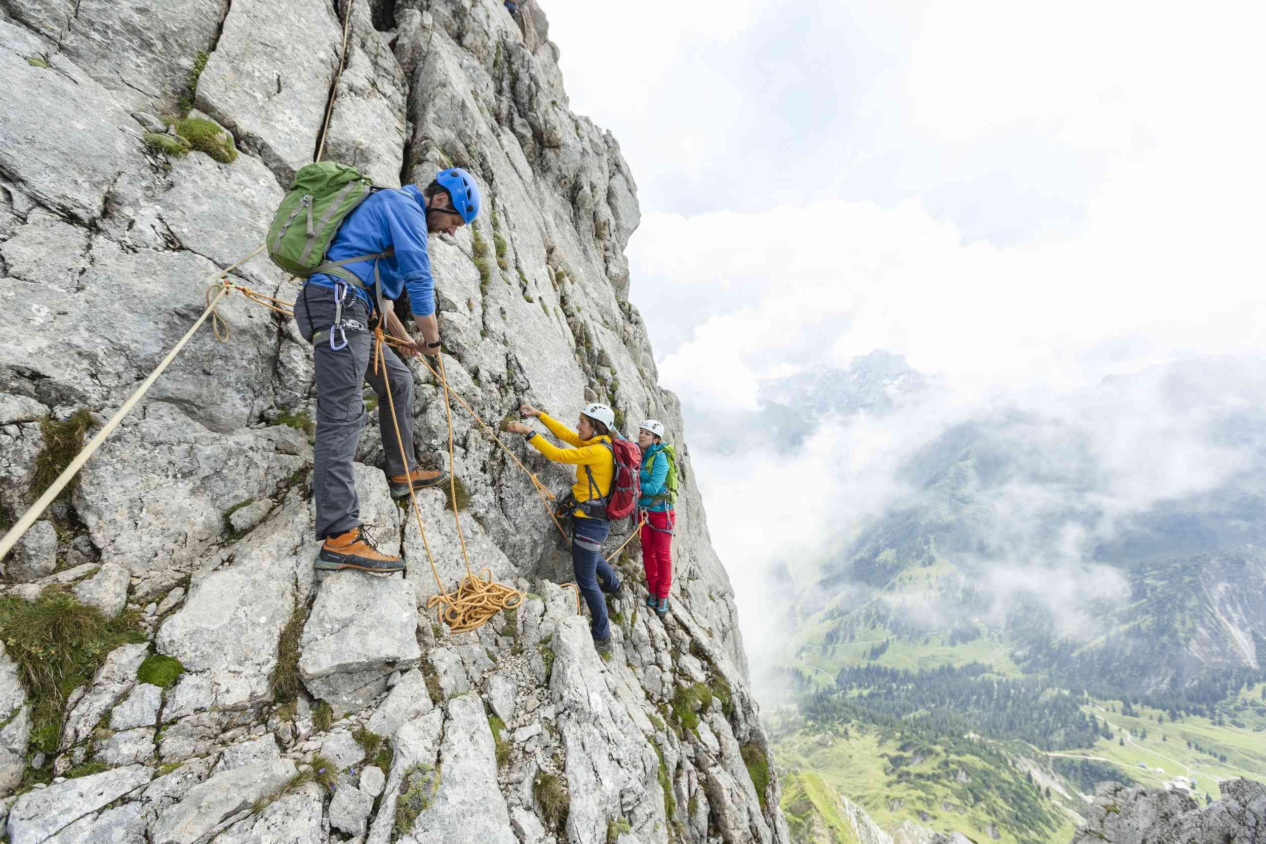 Group of rock climbers in Voralberg, Austria