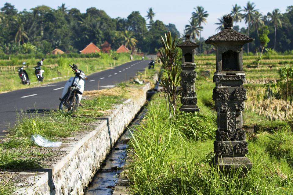 Scooters and shrines in Bali, Indonesia