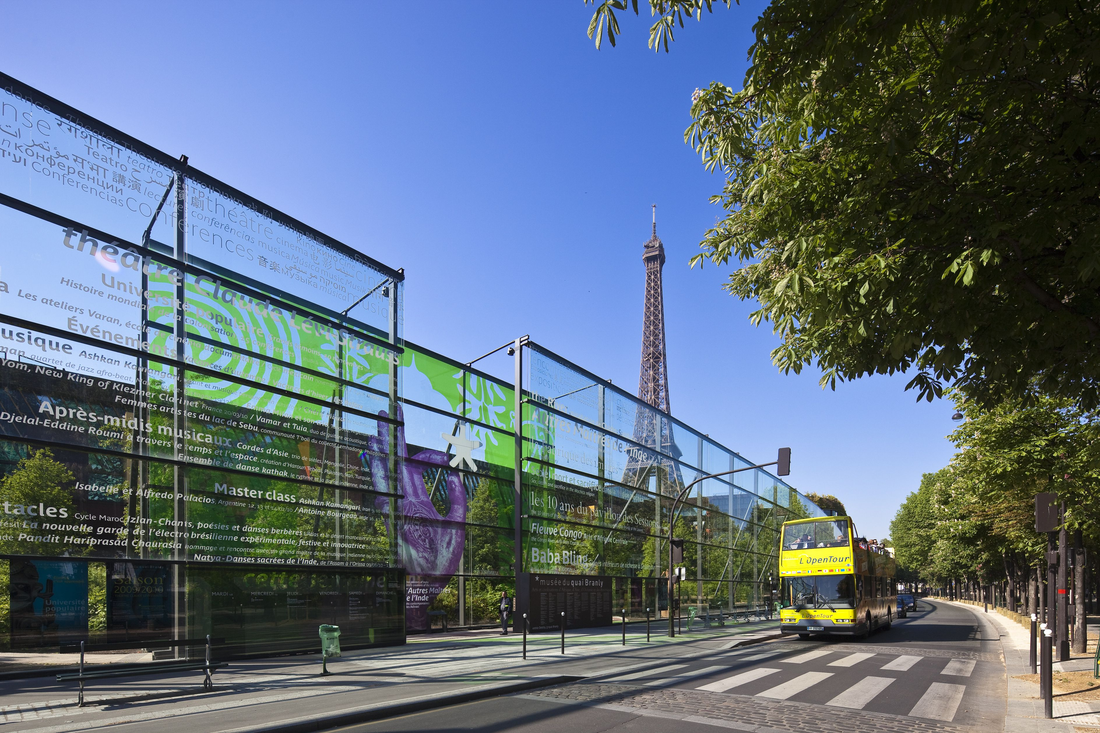 The Quai Branly Museum in Paris features a magnificent design by Jean Nouvel, green wall and panoramic rooftop restaurant.