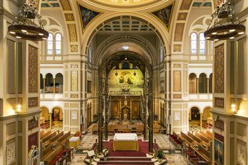 Elevated view of the altar in the Franciscan Monastery in Washington DC