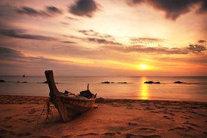 A boat on Koh Lanta, Thailand at sunset
