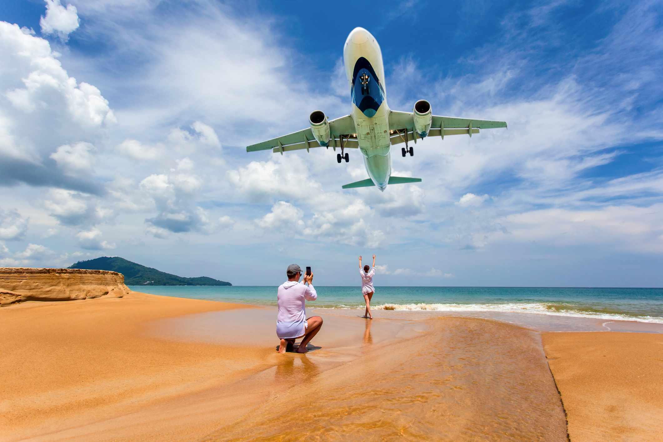 Plane spotting at Mai Khao Beach, Phuket, Thailand