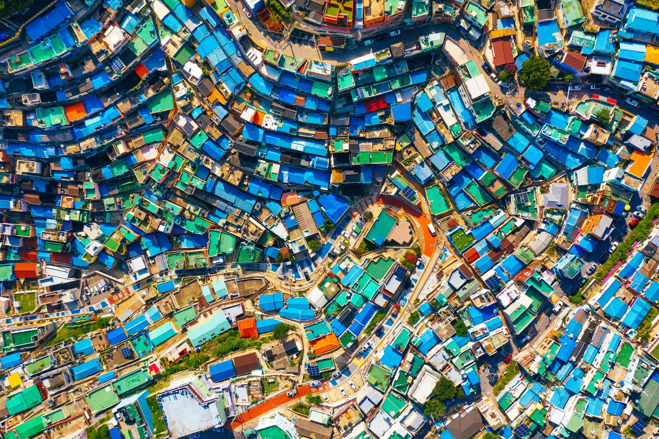 Aerial view of Gamcheon Culture Village in Busan, South Korea