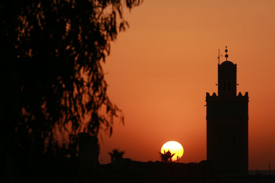 The sun setting over Marrakesh